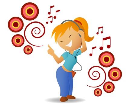 earbud: Ni�a escuchar m�sica de baile en auriculares  Vectores