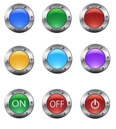 Color glass buttons set Stock Vector - 7645568