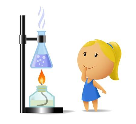 vaso de precipitado: Colegiala viendo en prueba de qu�mica