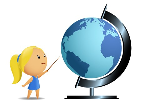 globus: Schoolgirl student point globe