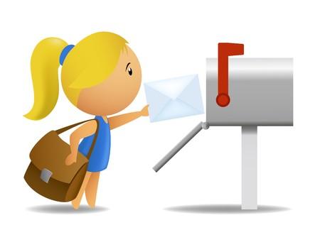cartero: Chica cartero entrega carta