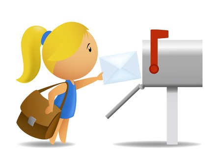 postbox: Girl postman delivering letter Illustration