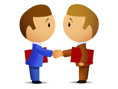 blue collar: Two businessmens handshake Illustration