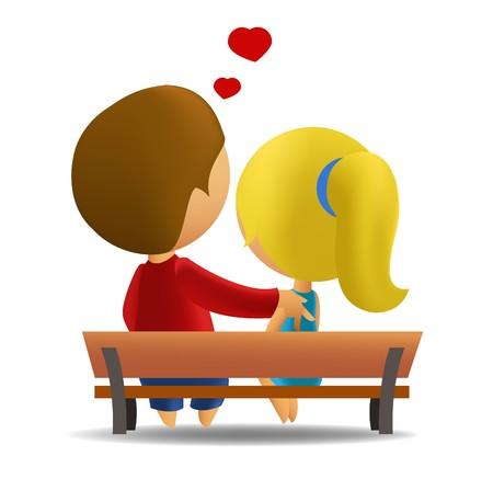 dating and romance: Adolescenti di coppia seduto su una panchina Vettoriali