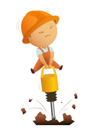 Little men working with big jackhammer Stock Vector - 7645527