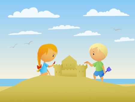castle sand: Chica y chico hacen un castillo de arena