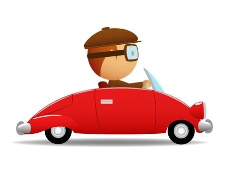 conductor: Conductor en el coche rojo  Vectores