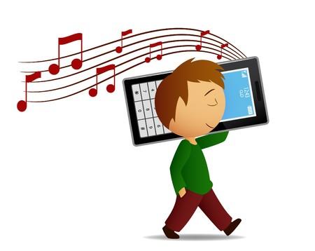 escuchando musica: Boy escuchar música cell phone Vectores