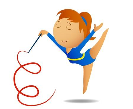 rhythmic gymnastic: Gymnast girl with ribbon
