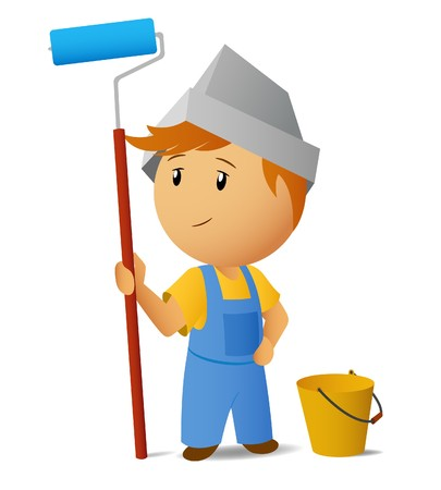 Painter with roller and bucket Stock Vector - 8267242