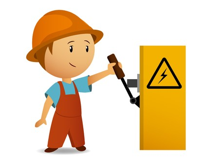 electrical safety: Little cartoon electrician switch on the power voltage