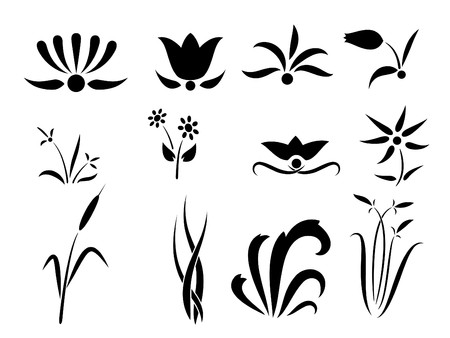 Set of flower and plants silhouettes ornament Stock Vector - 8267282