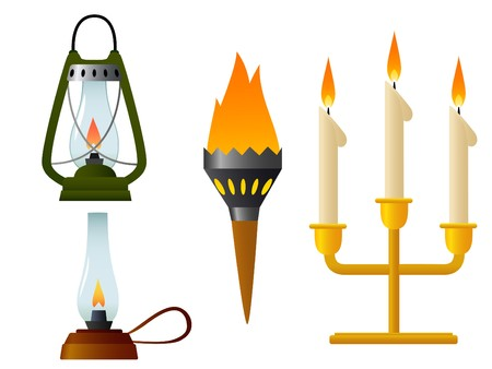 kerosene: Set of flame old lamp with burning light Illustration
