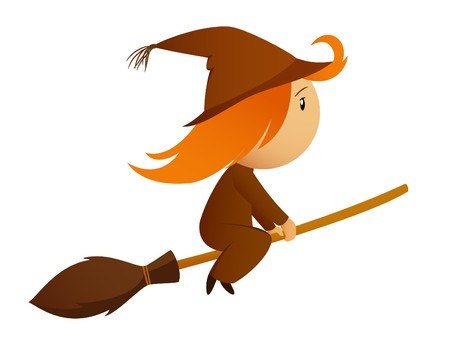 Halloween witch on the broom Vector
