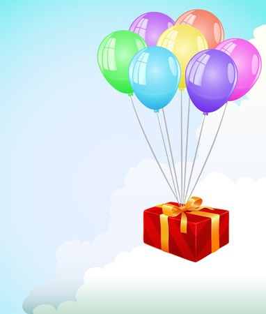 Red gift box fly in the clouds at color balloon Vector