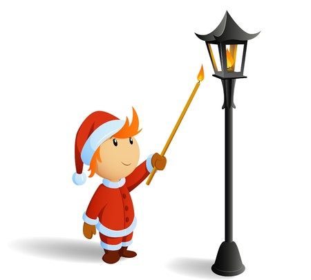 Little christmas santa firestarting lamppost Vector