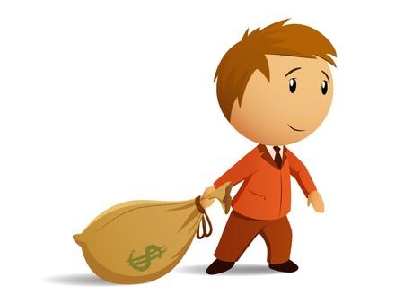hand bag: Hombre de negocios con bolsa de dinero  Vectores