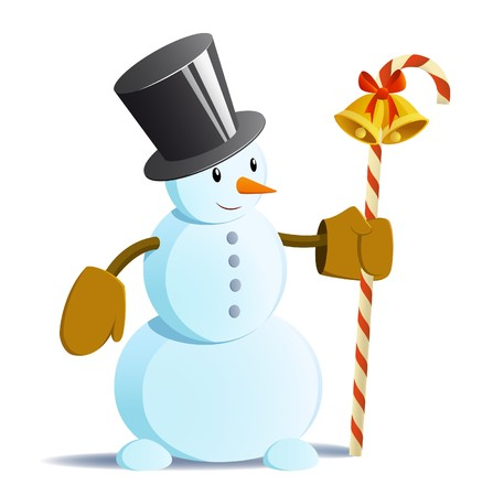 tall hat: Vector isolated snowman in black tall hat and staff in his hand