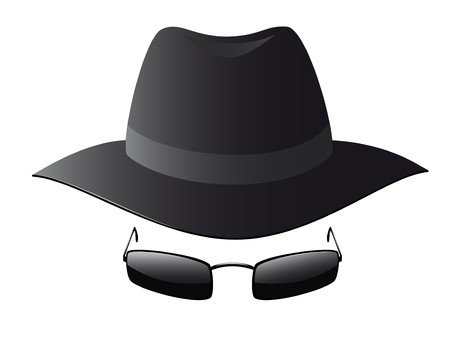 spies: Vector illustration of black sun glasses and spy hat Illustration