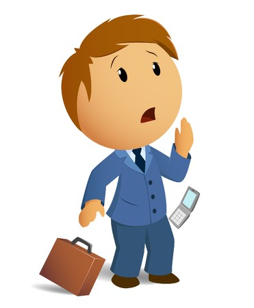 head phones: Vector image shocked businessman with throw case and cell phone Illustration