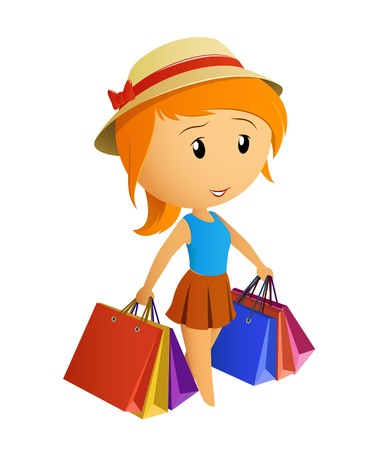 only teenage girls: Cute beauty girl in the cap with shopping bags Illustration