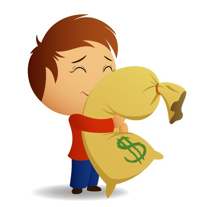 salaries: Men in red shirt hug the bag with money. Illustration