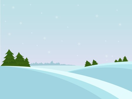 Snow christmas landscape with fir tree and far forest Illustration