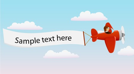 man and banner: Cartoon red plane with pilot and advertising banner Illustration