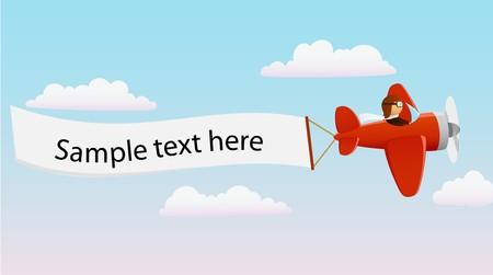 avion caricatura: Plano de dibujo animado rojo con el piloto y el titular publicitario
