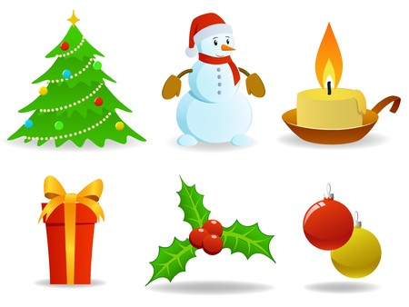 Set of vector christmas images.  Vector