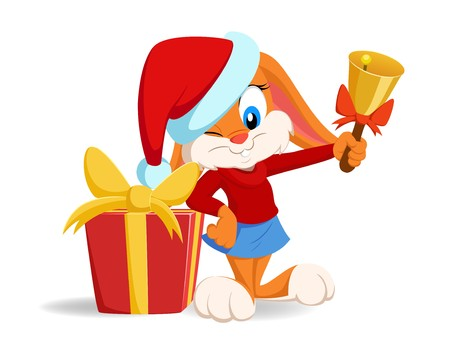 Vector image of cartoon funny rabbit with christmas hat and gift box.
