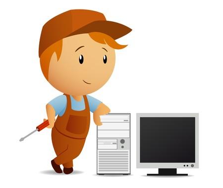 computer service: Cartoon Serviceman mit Schraubendreher Rest auf dem computer