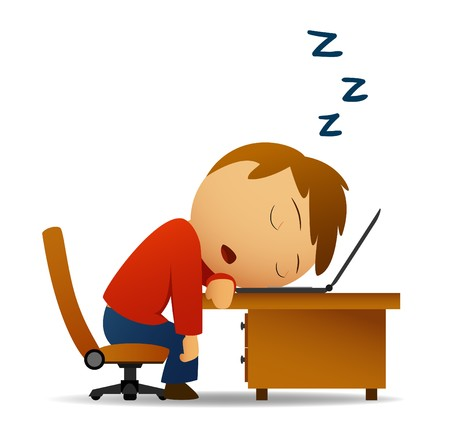 agotado: Imagen vectorial. Hombre durmiendo en la mesa de trabajo sobre port�tiles  Vectores