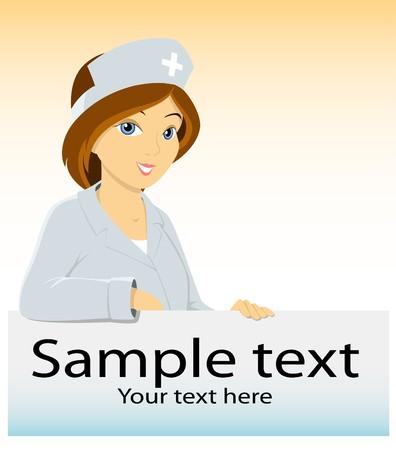 Cartoon medical nurse with advertising blank Vector