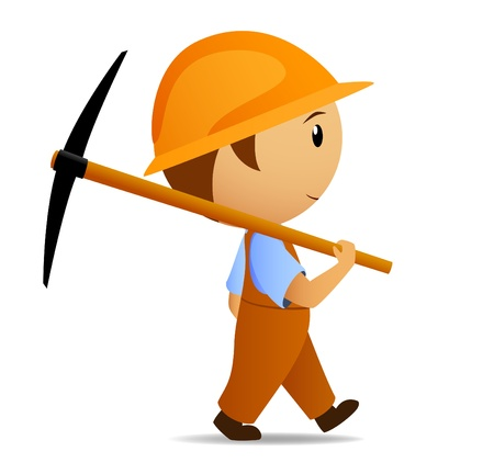 Cartoon digger with pick on his shoulder Vector