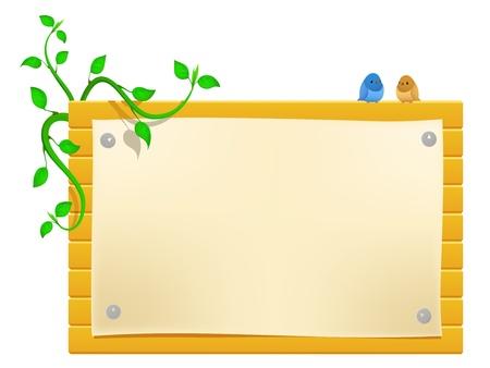 greeen: Vector cartoon billboard with little birds and greeen plants