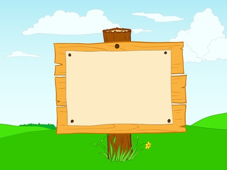 blank billboard on a green field on the background Vector