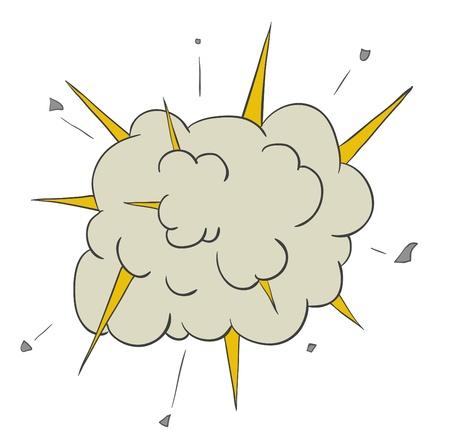 explosie: Fasen van explosie verspreiding en groeiende Vector Illustratie cartoon
