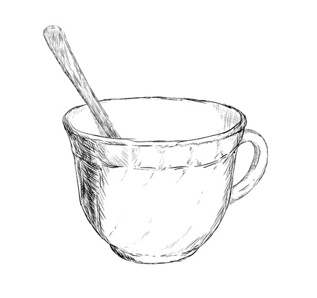 Vector illustration. Drawing cup of coffee or tea have spoon Vector