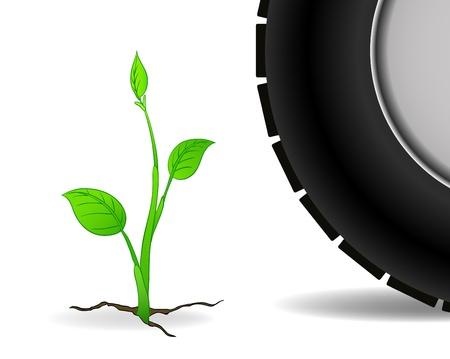 Floral plant grow through crack and wheel car Vector