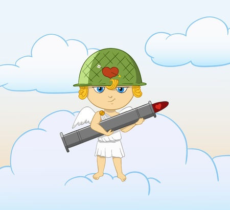 Vector illustration. Cartoon funny cupid with armed valentine bazooka. Sky with clouds on background. Vector
