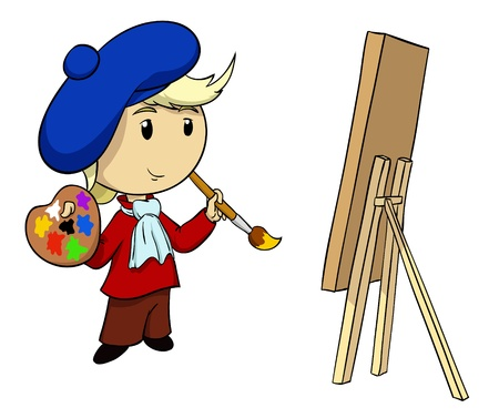 brush in: Cartoon artist in beret with palette and brush. Illustration