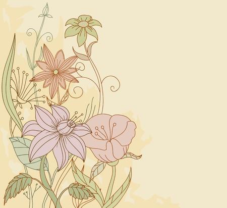 Vector illustration. Retro color flowers on grunge background Vector