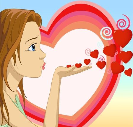 sending: Chica soplando besa con forma de coraz�n.Ilustraci�n vectorial. Vectores