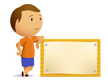 full frame:  illustration. Boy resting with Blank wooden billboard Illustration