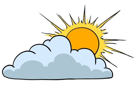 cloudy day:   illustration. Weather Icon Representing Sunny Weather With Clouds Illustration