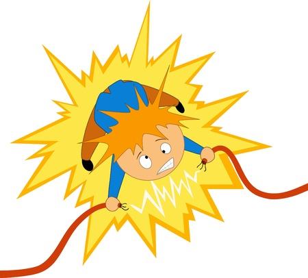 elektriciteit:  illustratie. Cartoon boy nemen de elektricien schok op de draad