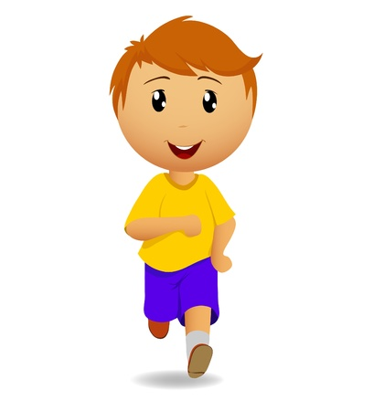 illustration. Cartoon running man in yellow t-shirt on a white background Vector