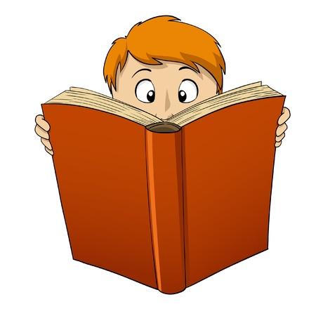 lezing: illustratie. Cartoon jongen lezen van grote rode Boek