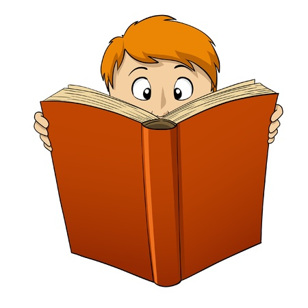 library book: illustration. Cartoon boy reading big red book Illustration
